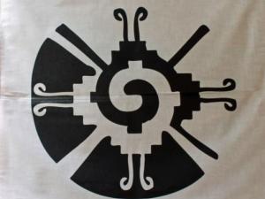 "White Mayan HunabKu Galactic Butterfly Altar Cloth Mesa Bandana Cotton 22"""