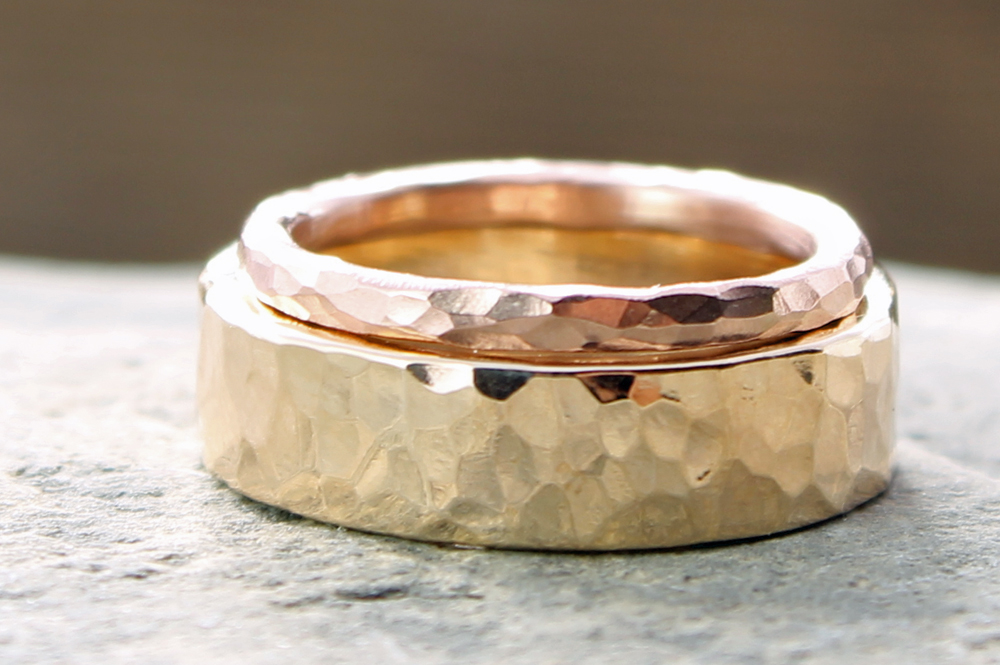 his hers custom 14k yellow and rose gold hammered wedding band set spiral river jewelry - Rustic Wedding Rings