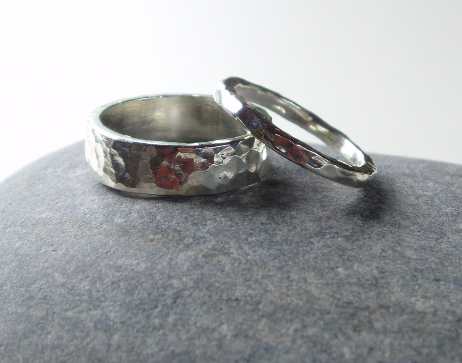 Very his & hers artisan hammered sterling silver wedding band set  WL56