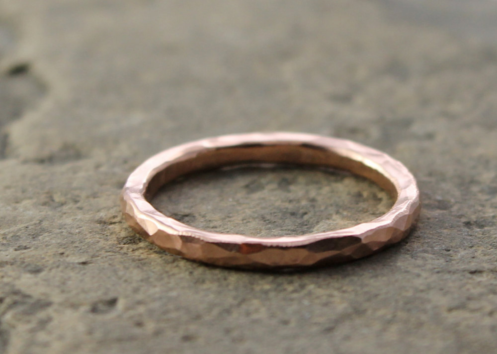Recycled 14k Rose Gold Hammered Wedding Ring
