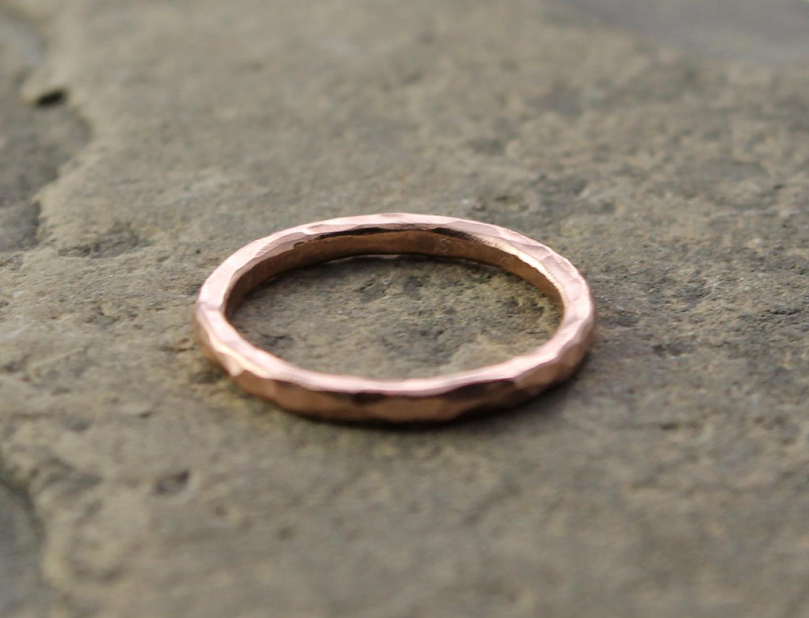 artisan hammered 14k rose gold wedding band and stacking ring