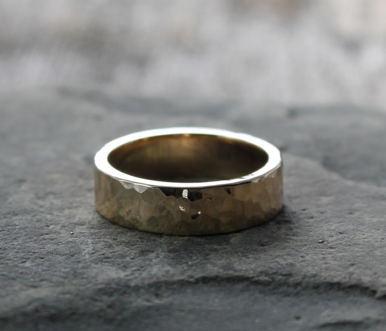 rustic mens wide artisan hammered 14k gold wedding band spiral