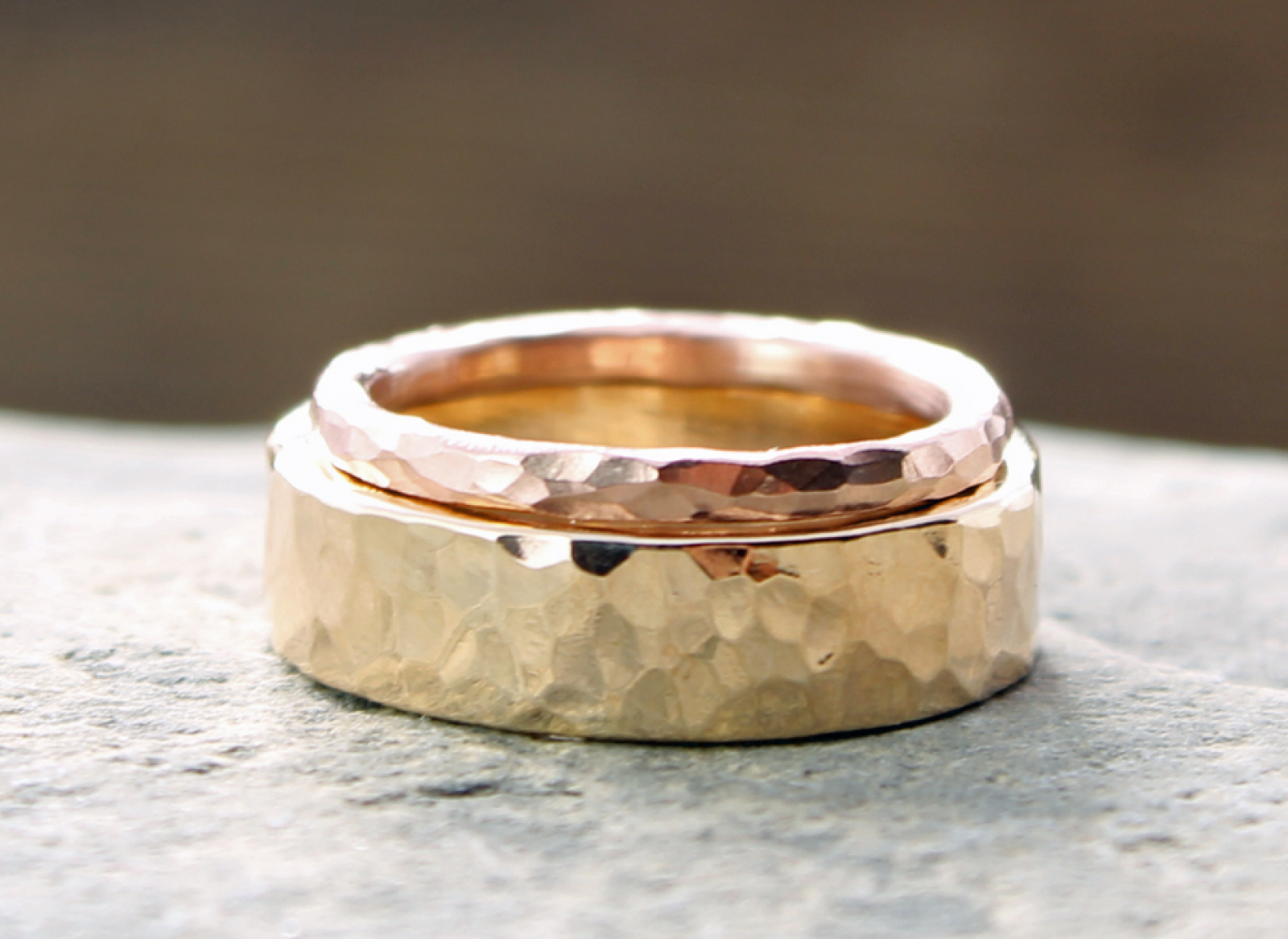 His Hers Custom 14k Yellow And Rose Gold Hammered Wedding Band Set Spiral River Jewelry