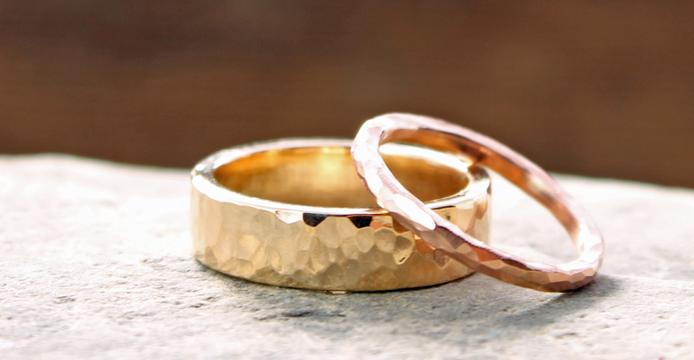 artisan wedding rings his amp hers custom 14k yellow and gold hammered 1388